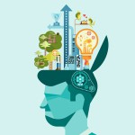 Ecology - Think green human mind vector