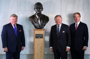 Pictured left to right are the late Mr JCB's sons, Mark Bamford and Lord Bamford and his grandson Jo Bamford (Lord Bamford's son) at the unveiling of the bronze bust today Date. 21.06.16