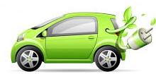 disegno macchina verde con cavo elettrico per caricarla