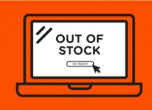Disegno di un pc su sfondo arancione, con scritto sullo schermo 'out of stock'